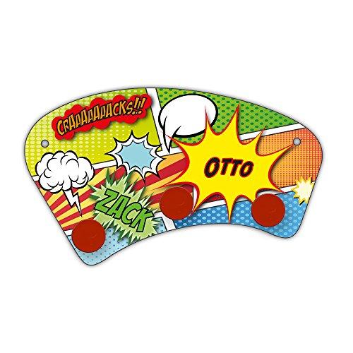 Wand-Garderobe mit Namen Otto und schönem Comic-Motiv für Jungs - Garderobe für Kinder - Wandgarderobe