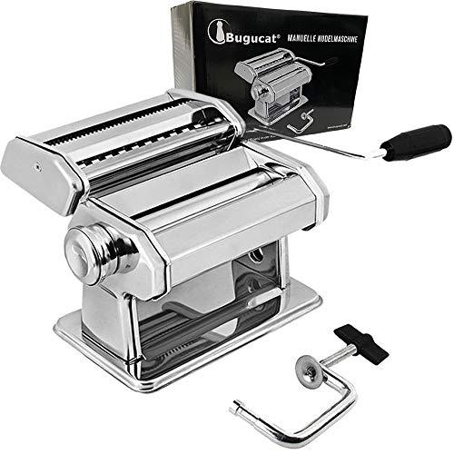 Bugucat Máquina para hacer pasta de acero inoxidable, fresca, manual, cortador con pinza para espaguetis, lasaña, máquina de pasta, fácil de usar y limpiar