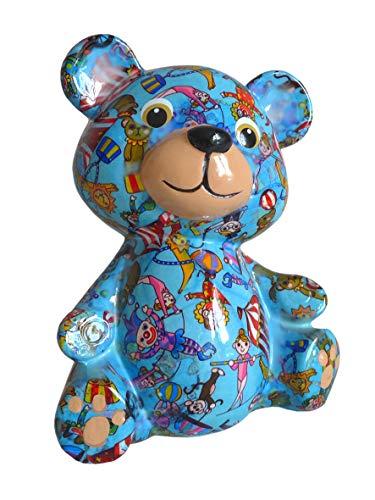 Pomme Pidou Spardose Bär blau mit Zirkus Sparbüchse Teddy Sparschwein Geldgeschenk Geschenk