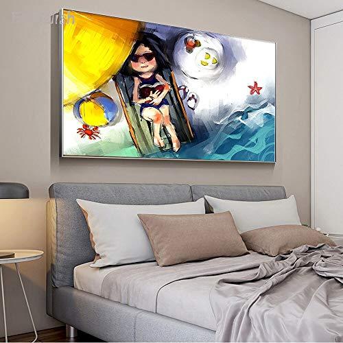 KWzEQ Leinwanddrucke Leichte Frau auf Strandkorbplakat und dekorativen Bildern für Wohnzimmer Wohnkultur75x113cmRahmenlose Malerei