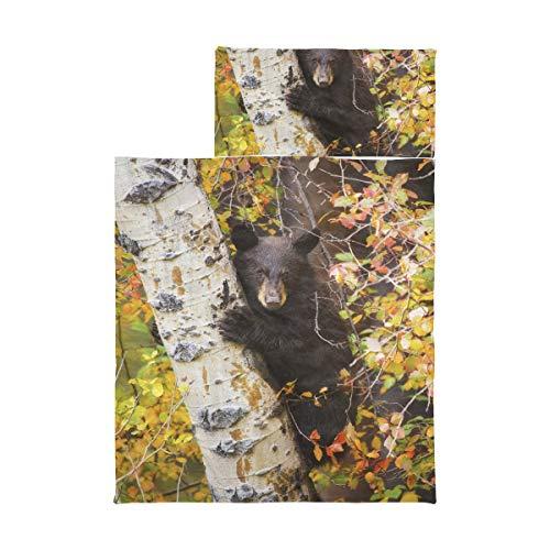 Kindergröße Schlafsack Black Bear Cub Klettert Aspen Tree Mat Nap Kinderweiche Mikrofaser Leichte Camping-Schlafsäcke für Kinder Perfekt für Vorschule, Kindertagesstätte und Übernachtungen