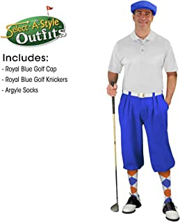Golf Knickers Mens Select A Style Outfit - Matching Golf Cap - Royal Blue