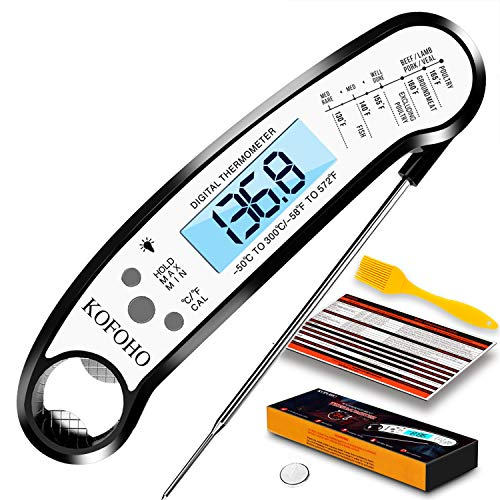 KOFOHO Meat Food ThermometerDigital Instant Read Waterproof Kitchen Cooking Beef Candy Quick Read Thermometer with Foldable Probe for Oil Deep Fry BBQ Grill Smokers Black
