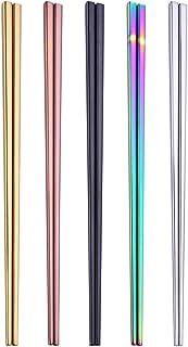 HuaLan Stainless Steel Chopsticks Series-Reusable Multicolor Lightweight 304 Stainless Steel Chopsticks Metal chopsticks 5 Pairs Gift Set