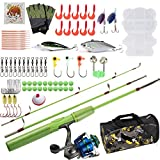 Dr.Fish Kids Fishing Pole and Reel Combo 3.9ft Spinning Rod 5BBs Spinning Reel Portable Carry Bag Shoulder Bag Complete Outfit Fishing for Kids 10-12 Years Old