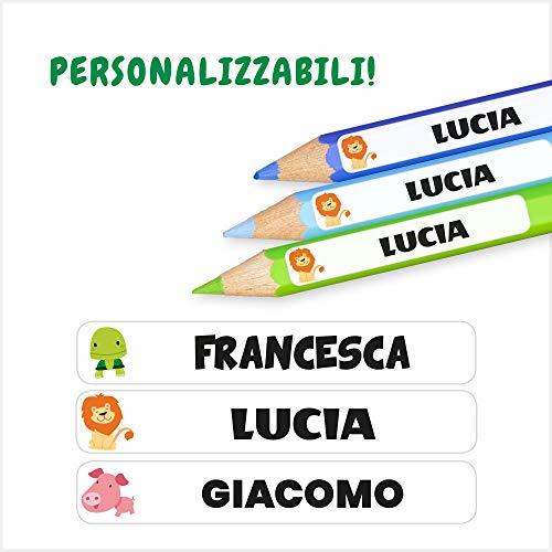 112 Etichette Personalizzate per cancelleria scuola - 50x8mm - Adesivi colorati per penne, matite, oggetti vari, etc.