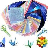 Origami Papier Origami 222 Feuilles de Papier Double Face Origami, Carte Colorée, Origami Artisanat, pour Les Projets De Bricolage Métiers Origami de Noël, Papier Plié De Couleur Carrée