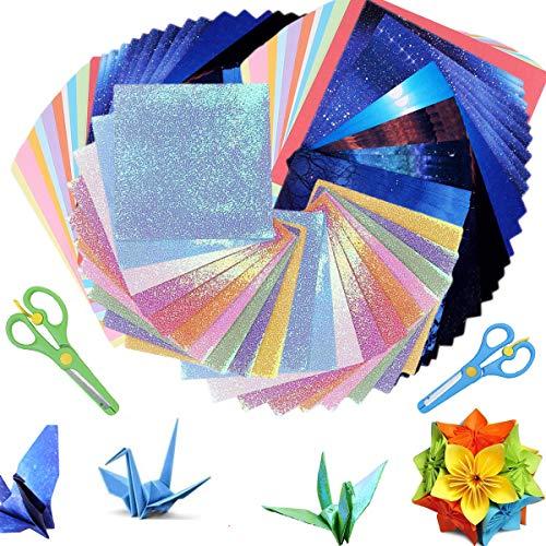222 Blatt Doppelseitiges, Kunstdruckpapier Origami Papier Farbige Karton, Buntpapier Farbigen Kopierpapier Farbig, Origami Papier in 10 Lebhaften Farben, Origami-Papier für Kunst und Bastelprojekte