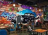 Fototapete Graffiti Graffiti Auto Fenster - 8 Teile Fototapeten Wandbild Motivtapeten Vlies-Tapeten Wand - 350x256CM-XXL