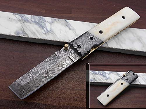 Hand Forged Damascus Steel Tanto Blade Pocket Knife, Folding Knife with Natural Camel Bone Scale, Cow Hide Leather Sheath Included with Belt Loop