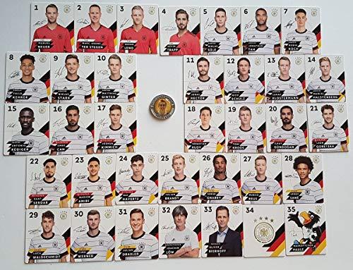 Rewe Komplettsatz EM 2020 DFB - Sammelkarten - KOMPLETT alle 35 Verschiedene Normale Karten + 1 Fußballmünze der WM 2006 - Philipp Lahm