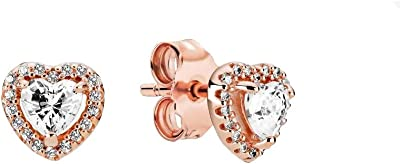 Pandora - Orecchini pendenti a forma di cuore scintillante, in lega di metallo placcato oro rosa 14 carati, 3,4 x 6,8 x 6,9 mm