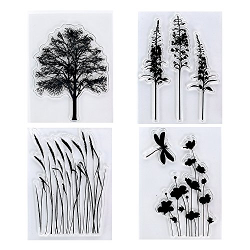 Kwan Crafts 4 Sheets Different Style Tree Flowers Clear Stamps for Card Making Decoration and DIY Scrapbooking