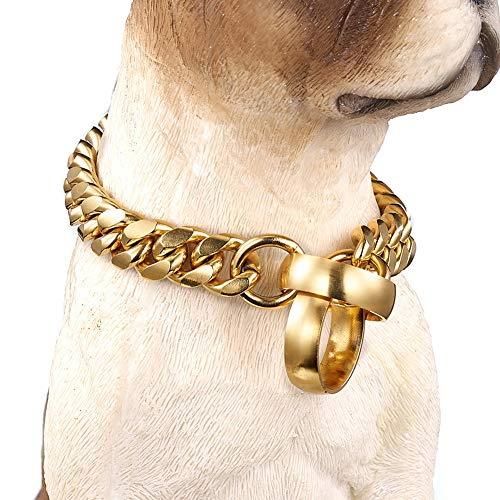 GAOHONGMEI 14mm Nieuwe Hip Hop 316L RVS Training P Ketting Hond Ketting 18K Goud Gepolijst Cubaanse Ketting Huisdier Hond Collar Ketting (12-30inch), 20inch, Goud