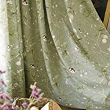 KMSG Green Farmhouse Vintage Printed Floral Birds Patterns Semi Blackout Curtains for Sliding Glass Door Thermal Insulated Room Darkening Window Drapes for Living Room/Bedroom 2 Panels W52 x L84 Inch