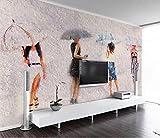 Mbwlkj Papel pintado Mural 3D Personalizado Salón Papel pintado 3D Pintura Pintura Al Óleo Retrato Paraguas Tv Fondo 3D Mural Wallpaper-450cmx300cm
