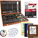 US Art Supply 82 Piece Deluxe Art Creativity Set in Wooden Case with...