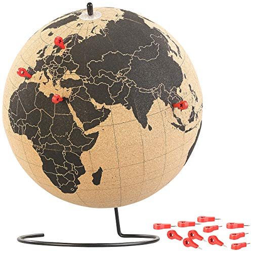infactory Weltkugel: Drehbarer XL Kork-Globus mit 15 Pins zum Markieren, Ø 25 cm (Pinwand)