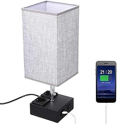 TOMSHOO Bedroom Lamp LED,Bedside Table Lamp, Modern Nightstand Desk Lamp with Dual 2.1A USB ,Charging Ports & Dual Outlet Sockets for Bedroom Living Room Children Room Office