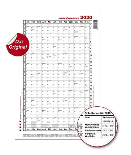 GÜSS Jahresübersicht 2020 Hochformat, Nr. 5a, DIN A1, Tagesfeld: 4,3cm x2,6cm, Größe: 60cm x 98cm