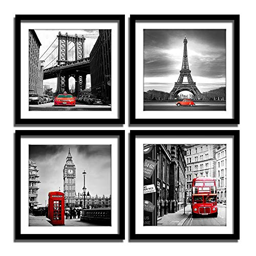 ENGLANT 4 Pieces Framed Canvas Wall Art, Black White and Red Wall Decor Landscape