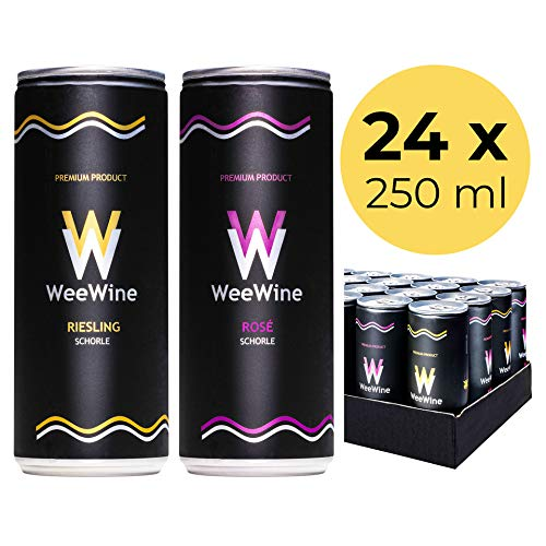 WeeWine Weinschorle Mix – 24er | 12x Riesling und 12x Rosé aus pfälzer Qualitätswein | 24er Palette (24 x 0,25 L)