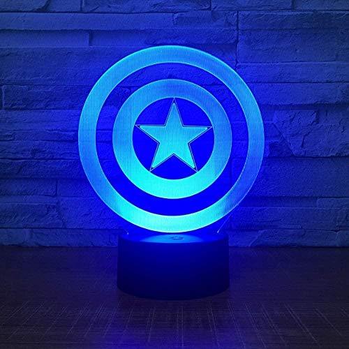 3D-Illusionslicht Captain America Shield-Thema LED-Nachtlicht 7 Farbwechsel Touch Mood Light Weihnachtsgeburtstagsgeschenk Tischlampe