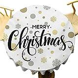 HUATAN Tovaglia Natalizia – 175 cm da Cucina Rotonda tovaglia Natalizia Decorazione Festiva Buon Natale Scritta stilizzata su Astratto Moderno Fiocco di Neve a Pois Oro Talpa Nero