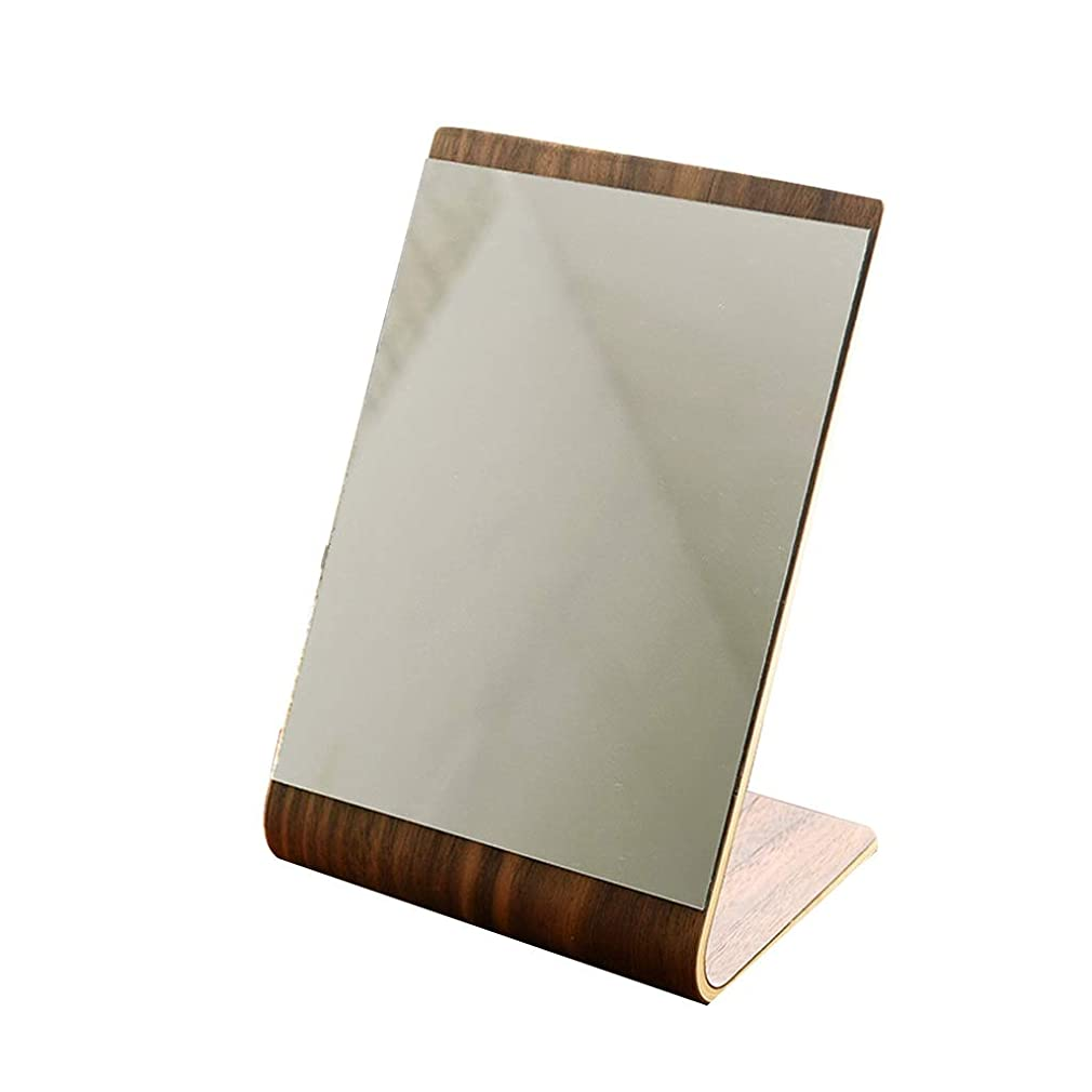 保険不安画像卓上化粧鏡、 純木 フリースタンディングミラー 小型コンパクト化粧鏡 カウンタートップ 傾斜 化粧鏡
