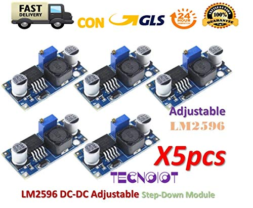 TECNOIOT 5pcs LM2596 LM2596S DC-DC Adjustable Voltage Regulator Step Down Power Supply
