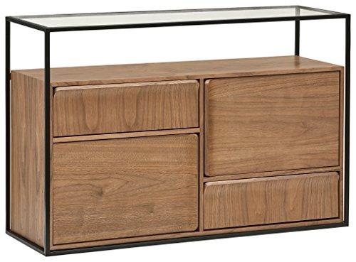 Amazon Brand -Rivet King Street 4-Drawer Table, 120cm, Walnut/Black Metal/Glass