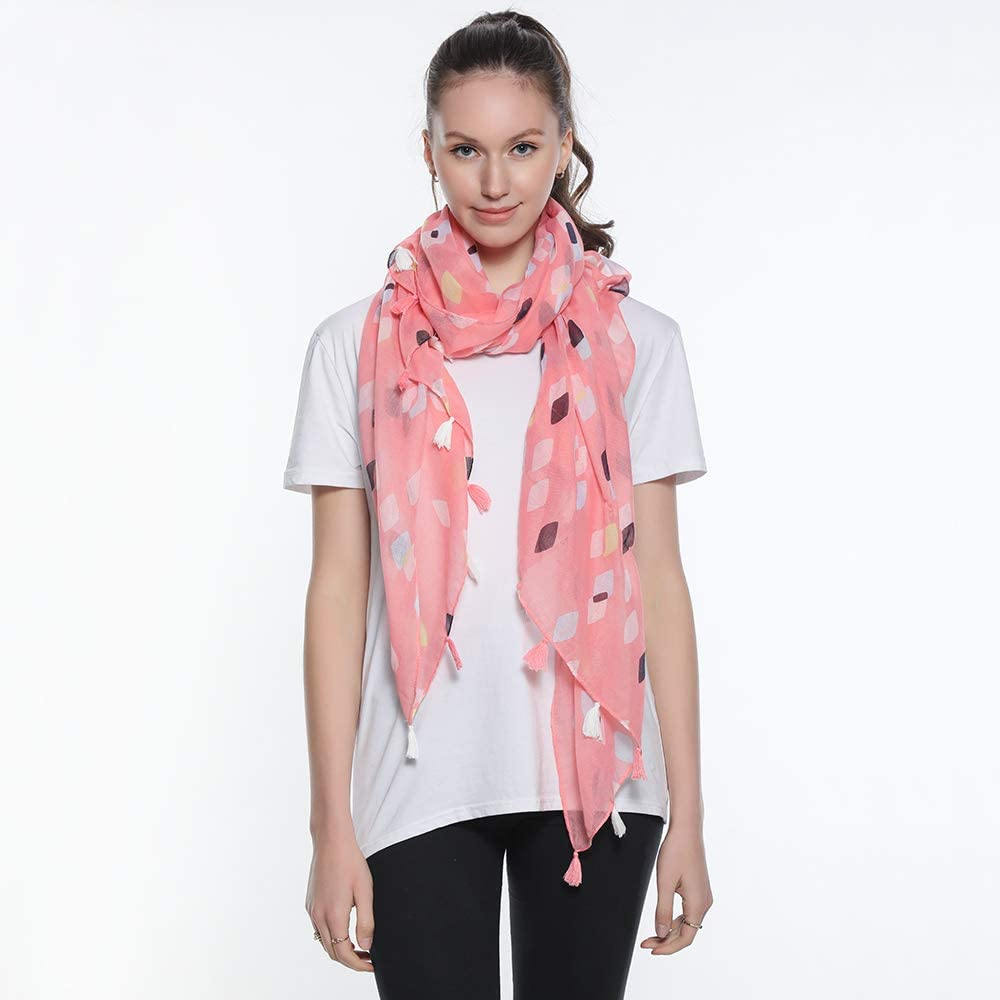 SUKOKOLA White Flowers Pattern Scarf for Women Lightweight New Designs Long Shawl Wrap