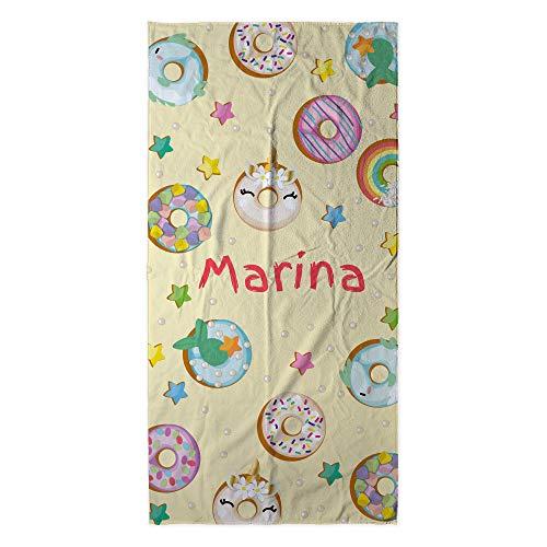 Toalla Playa Personalizada con Nombre o Texto. Regalo Infantil Toalla niño y niña. Piscina Playa Camping. Varios Diseños y Tamaños. Donuts