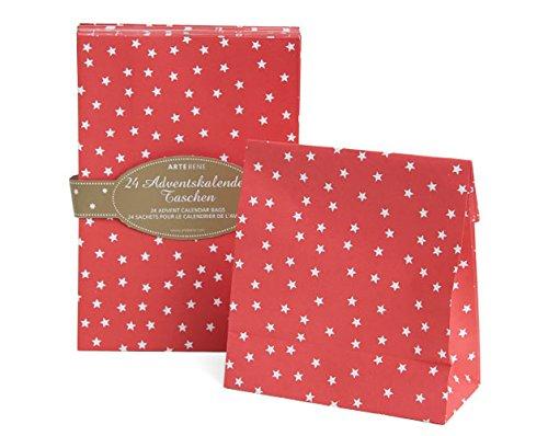 Geschenktüten zum Befüllen Vintage 'Sternchen' 24 Tüten rot mit weißen Sternen Geschenktasche DIY Adventskalender