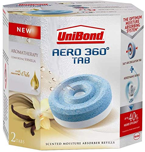 Unibond 3 X 360 Degree Moisture Absorber Vanilla Refill Tab, Aromatherapy, Ultra-Absorbent and Odour-Neutralising for AERO 360 Degree Dehumidifier, Condensation Absorbers, Twin Pack (2 x 450 g)