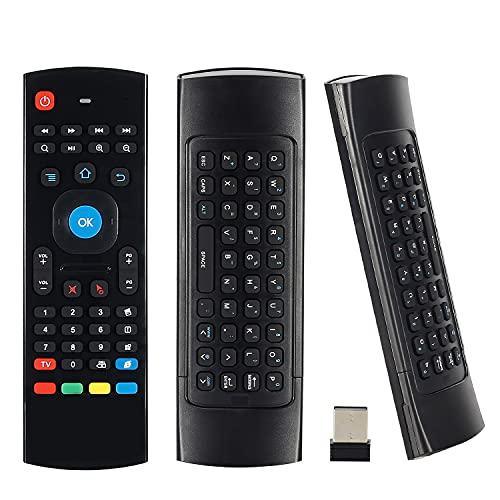 Air Mouse Mini Teclado inalámbrico 2.4G Multifuncional Universal W Control de Aire de Aprendizaje Infrarrojo para Android Smart TV Box, 3-Gyro y 3-Gsensor, G Box HTPC Mini PC, PS3/4 Xbox 360 con USB