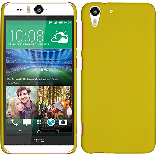 PhoneNatic Hülle kompatibel mit HTC Desire Eye - Hülle gelb gummiert Hard-case + 2 Schutzfolien