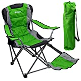 Outdoor Quad Camping Chair - Lightweight, Portable Folding Design - Adjustable Footrest, Cup Holder, Storage Carrying Bag – Durable Material, Steel Frame - by GigaTent