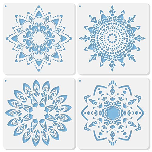 Midenco Mandala Stencil for Painting, 12x12 Inch Reusable Furniture Canvas Wood Floor Fabric Wall Stencils for Painting Large Pattern Boho Spray Paint Plastic Art Stencils (Style 01)
