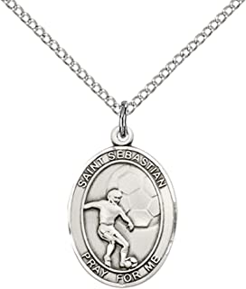 F A Dumont Sterling Silver St. Sebastian/Soccer Pendant with 18