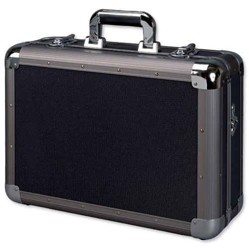 Alumaxx 45132 - Multifunktionskoffer Explorer, Piloten Koffer aus Aluminium, Aktenkoffer in schwarz, Fotokoffer mit herausnehmbaren Schaumstoff Elementen, Pilotenkoffer ca. 34,5 x 46 x 16 cm