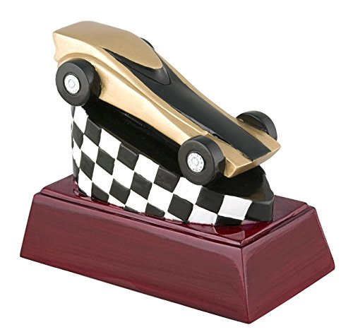Decade Awards Racing Color Resin Trophy - Racing Award - 4 Inch Tall - Engraved Plate on Request