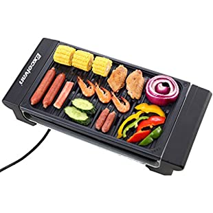 Excelvan Portable Electric Grill Indoor Barbecue with Large Easy Cleanup Cooking Surface and Thermostat Drip Tray,1400W (Black,S):Lidl-pl