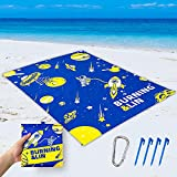 BURNING&LIN Beach Blanket Cosmic Design Beach Mat Sand-Free 82' x 59' with 4 Stakes and Zippered Pockets Blankets for Camping, Picnic, Hiking and Festivals