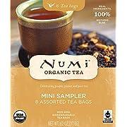 Numi Organic Tea Mini Sampler Variety Pack, Assorted Black Tea, Green Tea, White Tea, Herbal Tea Bags, 8 Count Box