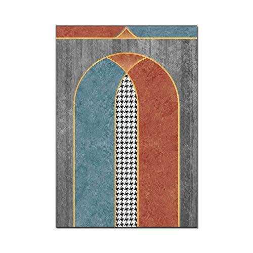 Alfombras Modernas Diseño Alfombra área Grande Patrón de Arco de Mosaico geométrico Alfombra Adecuado para Dormitorio, Dormitorio, Pasillo, sofá 160x200M (5ft3 x6ft7)
