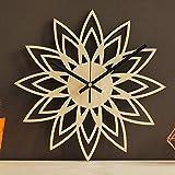 N /A Reloj de Pared 30Cm Madera Natural Lotus Moda de Madera Moderna Bambú Creativo Cuarzo Mudo Material Preferido Mano de Obra Fina Movimiento silencioso