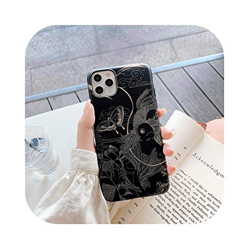 Fun-boutique Luxury Lucky Koi Fish - Carcasa para iPhone XS Max 11 Pro Se 2020 7 XR X 8 6Plus (silicona), color negro mate