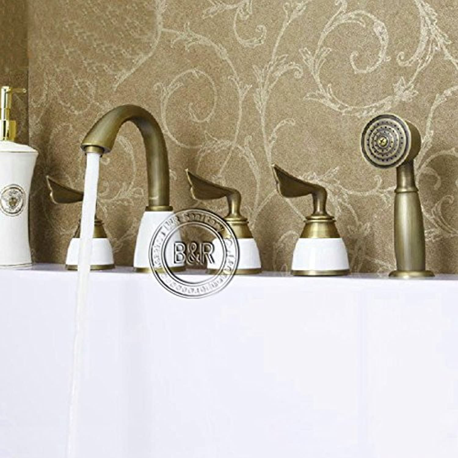 CZOOR Antique Tub Faucet Bathroom Brass Mixer Three Handles Five Holes Surface Mounted Faucet Hy-681