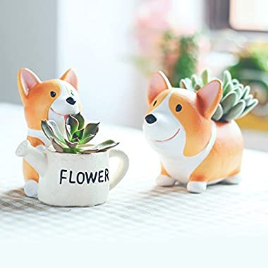 SUN-E Lovely Corgi Dog Shaped Plant Decor Succulent Plants Decorative Flower Pot 2 in Set Idea
